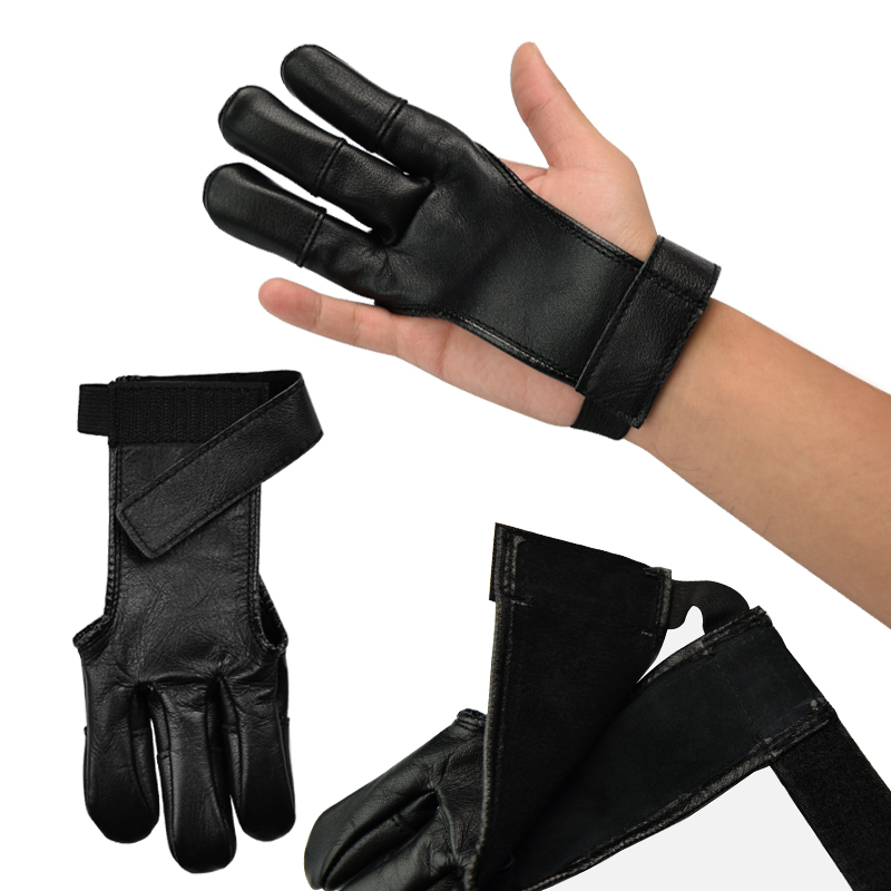 Leather Archery Gloves 3 Finger Tab Guard Bow Shooting Protector Accessories NEW