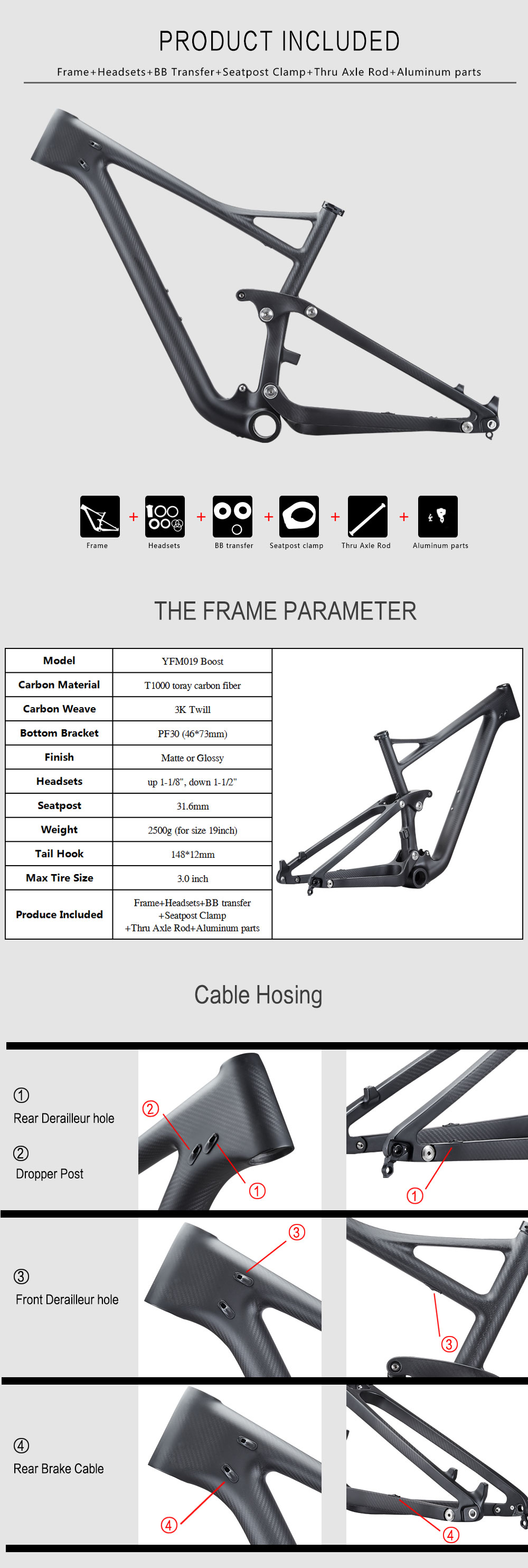 29er Mountain Bike Frames Full Carbon Boost MTB Bicycle Frames Rear space 148mm