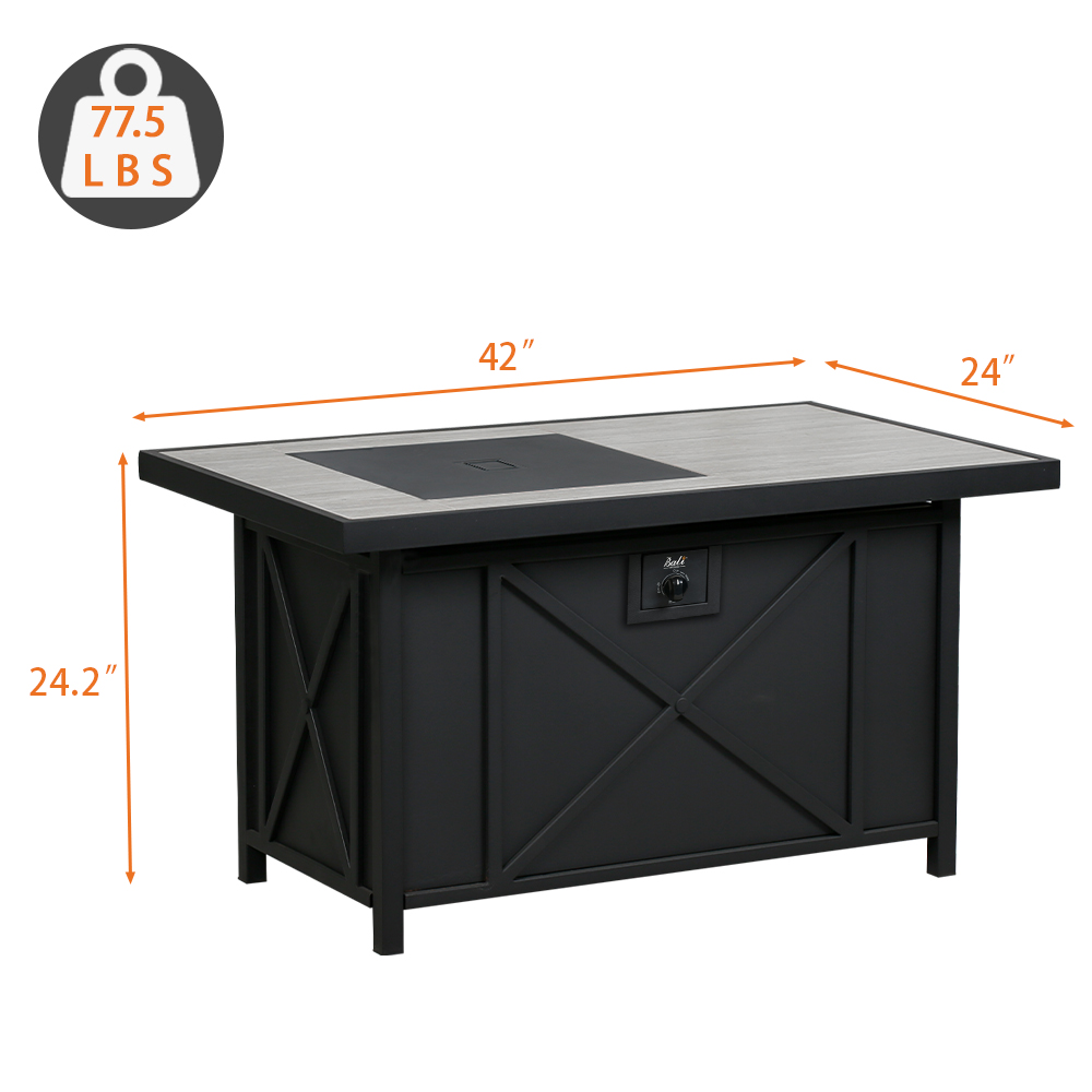 BALI OUTDOORS 42*24 Rectangular Propane Gas Fire Pit Table ...