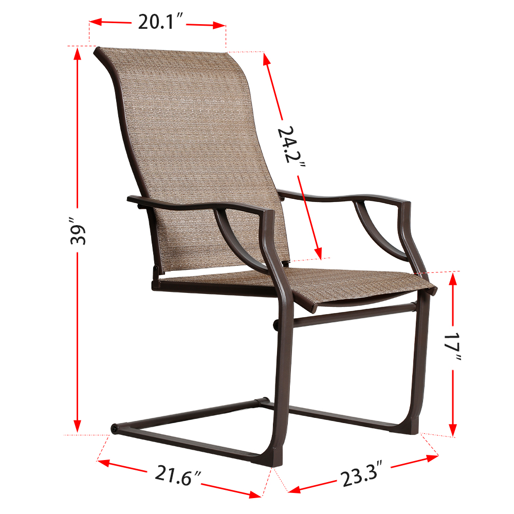 Details about Bali Outdoor All Weather Spring Motion Teslin Patio Dining Chairs Set of 2 Lawn
