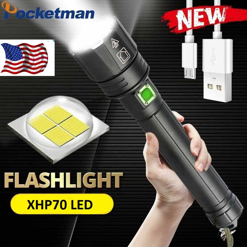 Powerful 80000LM XHP70 LED Flashlight Rechargeable 3 Modes Zoom Tactical Torch